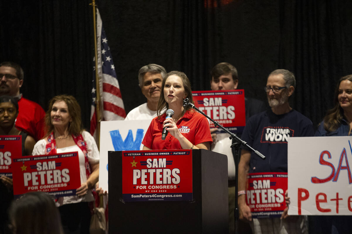 """Melissa Peters, wife of Republican Sam Peters, speaks during the """"Fight for Freedom"""" ..."""