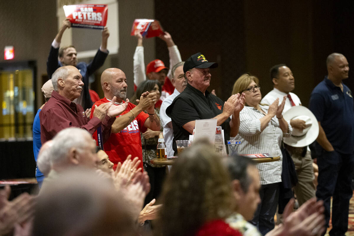 """People applaud during the """"Fight for Freedom"""" Campaign Kickoff event listen to Republican Sam P ..."""