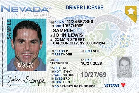 The new driver's license design from the Nevada Department of Motor Vehicles. (Nevada DMV)
