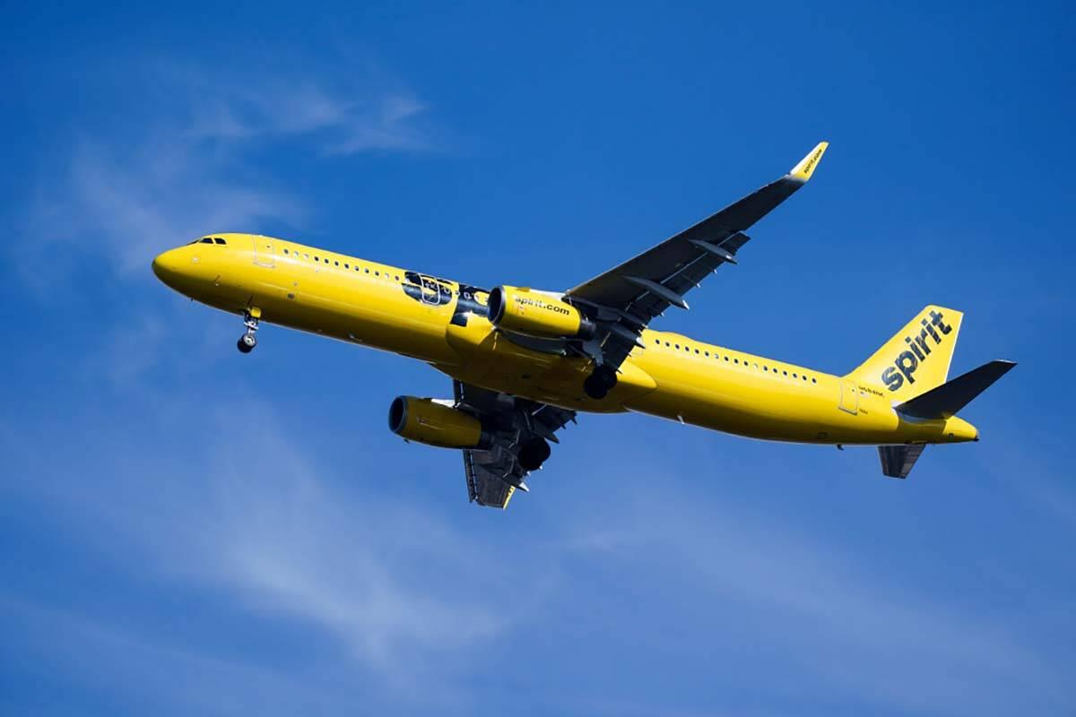 A Spirit Airlines jet approaches Philadelphia International Airport in Philadelphia, Wednesday, ...
