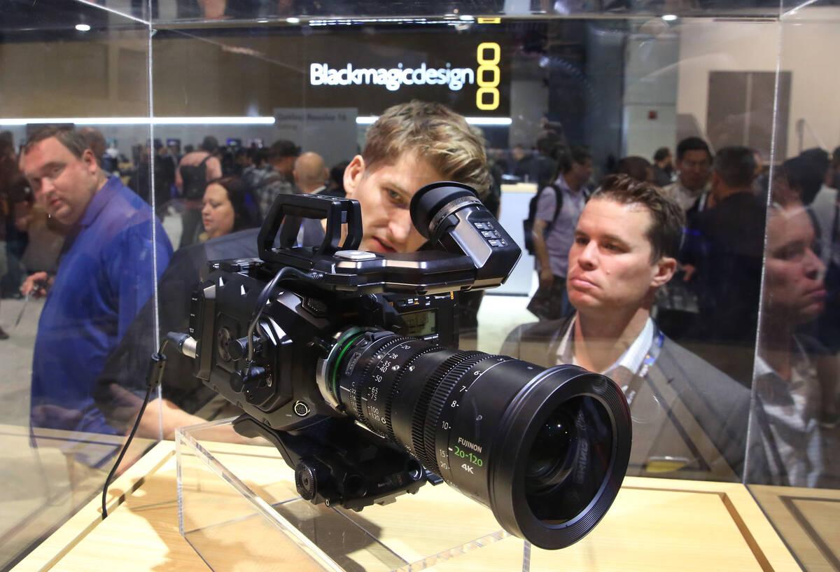 Tim Garrow, center, and Richard Griffin checkout Blackmagic URSA mini Pro 4.6K G2 film camera d ...