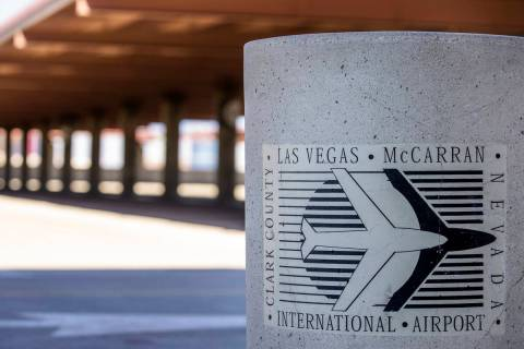 Trash barrel at McCarran International Airport which the Clark County Commission voted unanimou ...