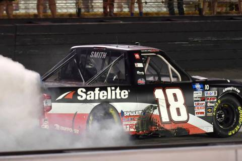 Chandler Smith celebrates his win in the NASCAR Truck Series auto race Thursday, Sept. 16, 2021 ...