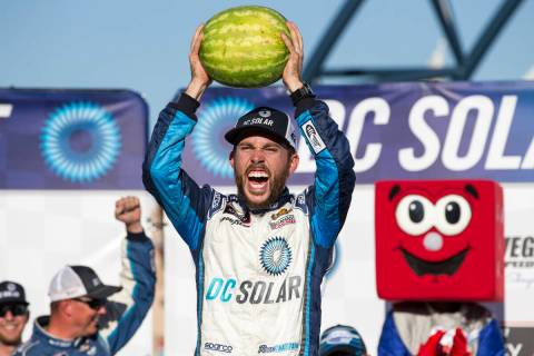 Ross Chastain celebrates in Victory Lane after winning the DC Solar 300 NASCAR Xfinity Series a ...