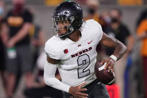 UNLV quarterback Doug Brumfield (2) against Arizona State during the second half of an NCAA col ...