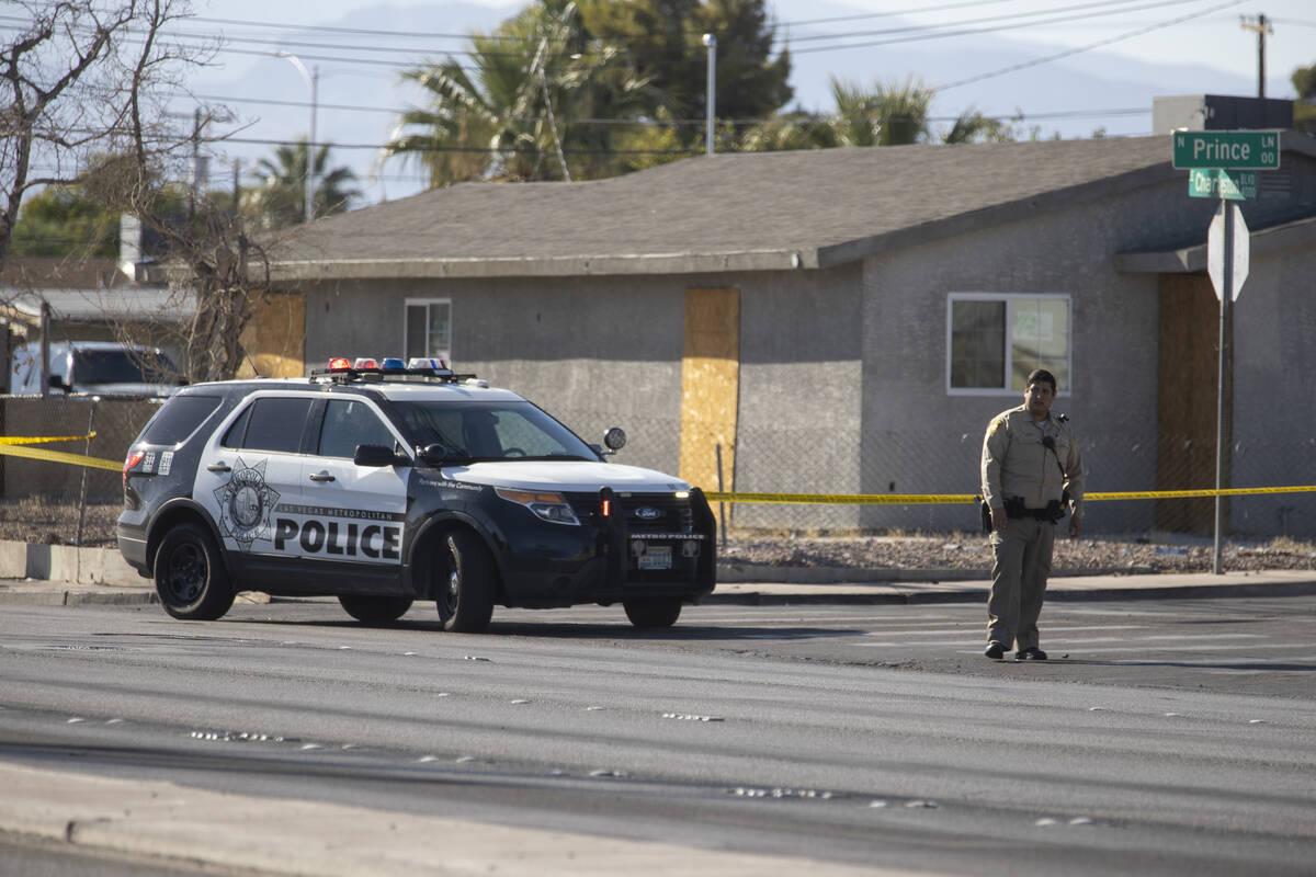 Police presence on Charleston Avenue near Sacramento Drive in Las Vegas, Tuesday, Sept. 21, 202 ...