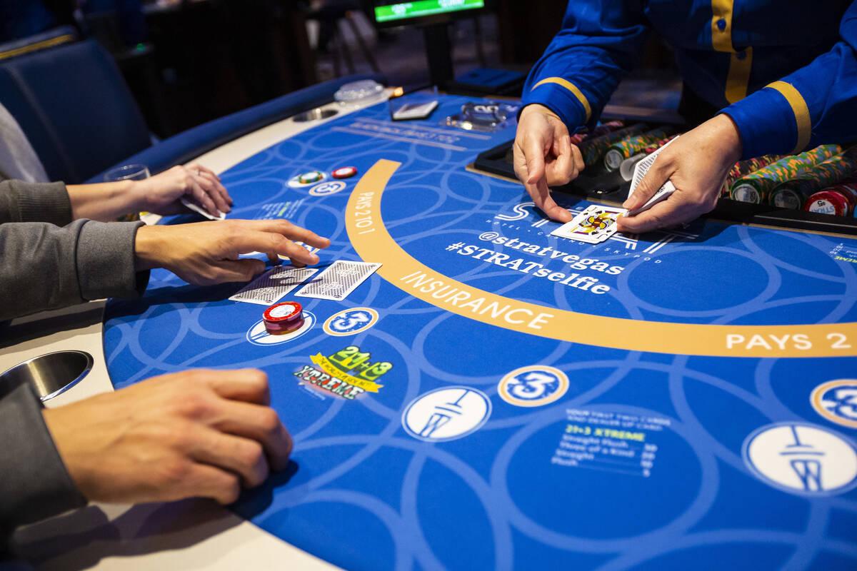 A blackjack game is seen at The Strat in Las Vegas in December 2019. (Chase Stevens/Las Vegas R ...