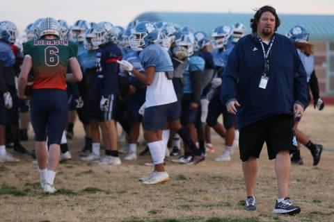 Centennial head coach Dustin Forshee during a team practice at Centennial High School in Las Ve ...