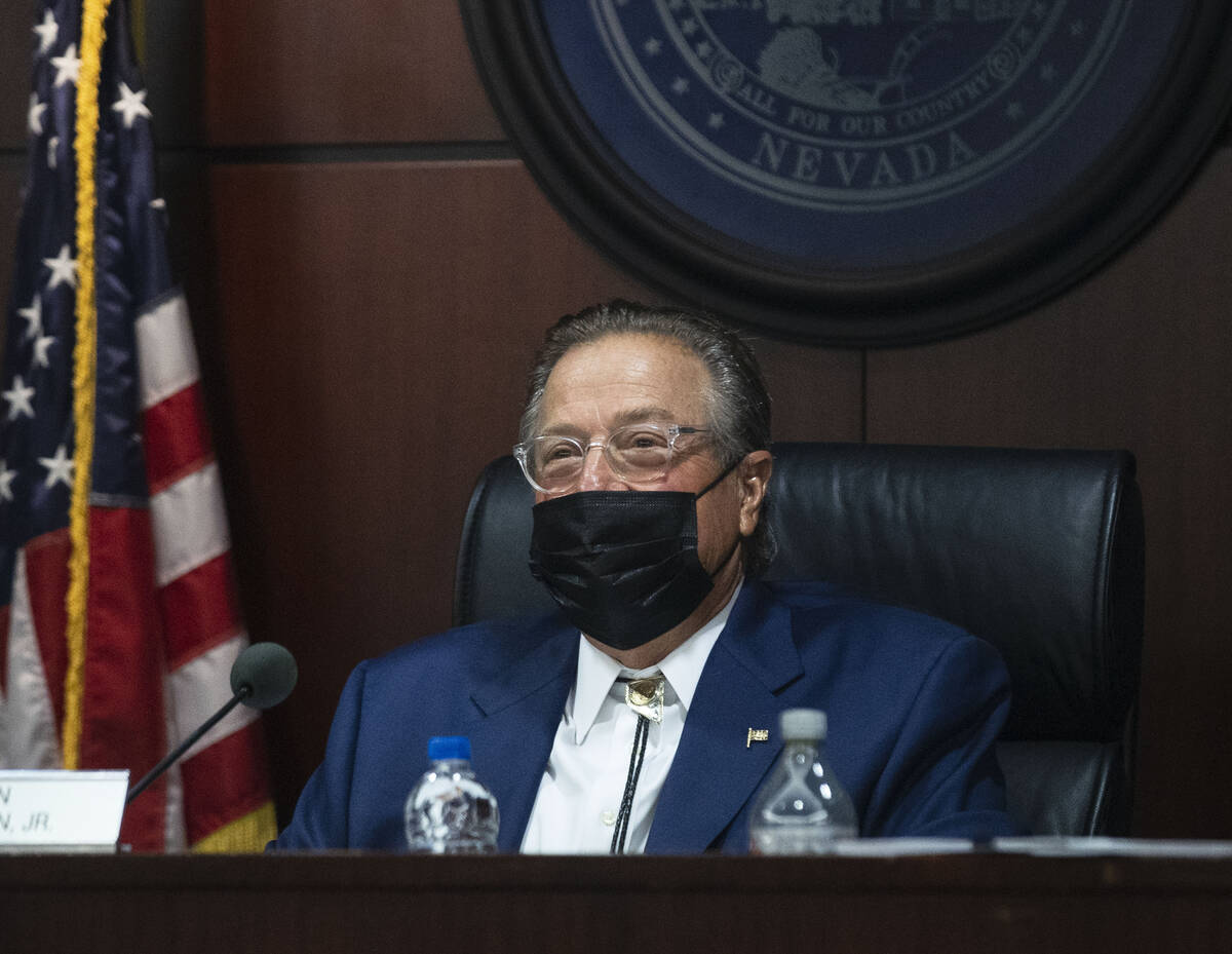 John Moran, chairman of the Nevada Gaming Commission, attends his last public meeting at the Gr ...