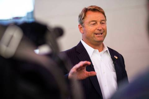 Dean Heller talks with members of the news media about his gubernatorial campaign while visitin ...