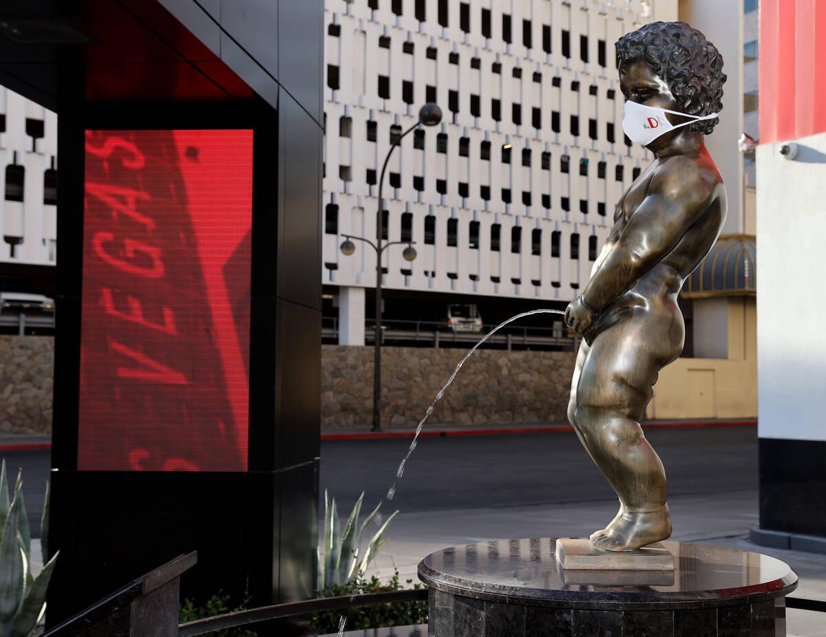 Manneken Pis bronze statue at the D Las Vegas downtown Wednesday, July 22, 2020. (K.M. Cannon/L ...