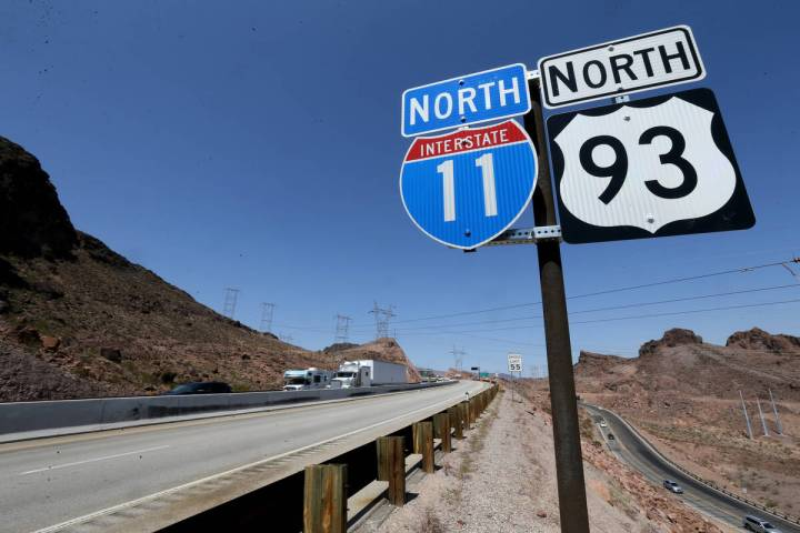 Interstate 11 near the Hoover Dam Bypass Bridge. The infrastructure bill includes funds for hig ...
