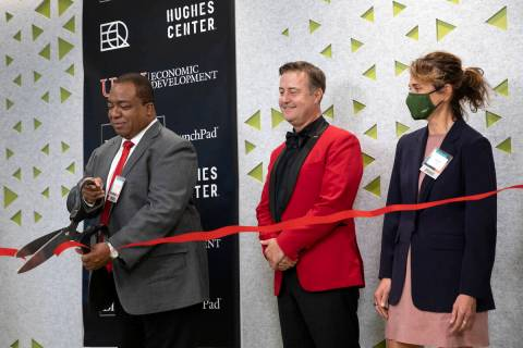 UNLV President Keith Whitfield cuts the ribbon to open the new UNLV Incubator facility at the H ...