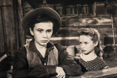 """A promotional photo of Beverly Washburn, right, and Tommy Kirk taken in 1956 for the film """"Old ..."""