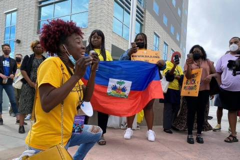 Santcha Etienne, Florida organizer for the Black Alliance for Just Immigration, speaks during a ...