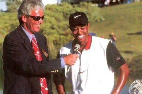 Jack Sheehan interviews Tiger Woods after the 1996 Las Vegas Invitational, site of the golfing ...
