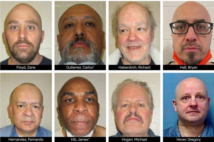 Eight of the 64 inmates currently awaiting execution on Nevada's death row are seen in a screen ...