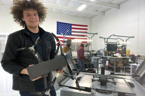 Brinc founder and CEO Blake Resnick with the company's Lemur drone at its headquarters in Las V ...