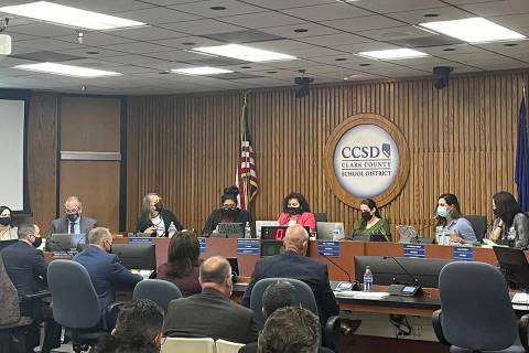 The Clark County School Board meets Thursday, Oct. 14, 2021 at the Greer Education Center in La ...