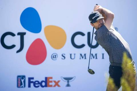 Robert Streb hits the ball from the 14th tee box during the first round of the CJ Cup golf tour ...
