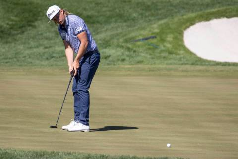 Cameron Smith putts the ball in the 13th green during the first round of the CJ Cup golf tourna ...