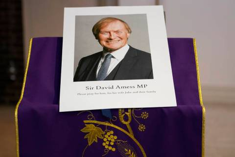 An image of murdered British Conservative lawmaker David Amess is displayed near the altar in S ...