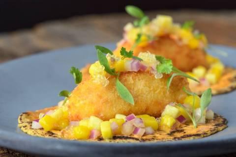 Yam Croquette Tacos at La Cocina Exclusiva. (Leinani Shak)