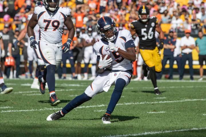 Denver Broncos quarterback Teddy Bridgewater (5) rushes against the Pittsburgh Steelers during ...
