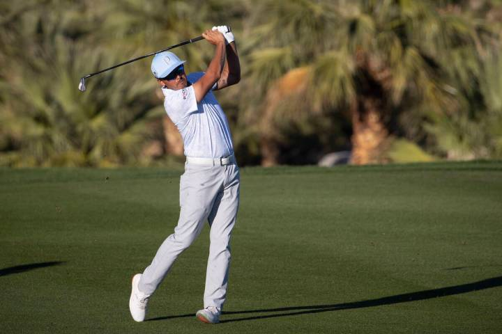 Rickie Fowler his the ball from the 18th fairway during the third round of the CJ Cup golf tour ...