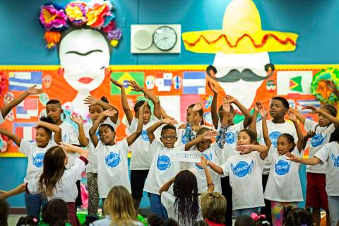 Members of the Wendell P. Williams Singing Eagles Choir perform during a Hispanic Heritage Mont ...