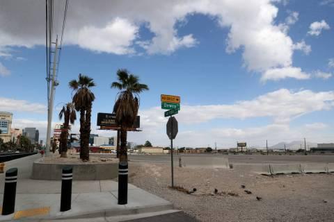 Vacant land, right, adjacent to McCarran International Airport at Las Vegas Boulevard and Dewey ...