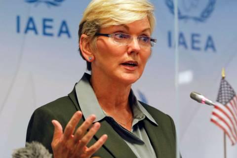 The U.S. Secretary of Energy, Jennifer M. Granholm attends a press conference at the Internatio ...