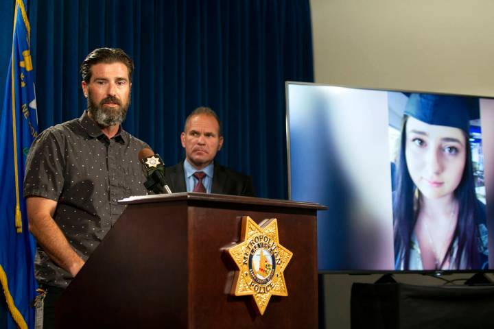 Lee Gugino, left, speaks during a press conference about his daughter Mia Gugino's fentanyl ove ...
