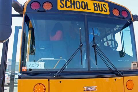 Clark County School Distict school bus (Gabriella Benavidez/Las Vegas Review-Journal) @latina_ish