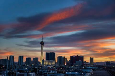 The Strip skyline at dusk on Wednesday, Oct. 20, 2021, in Las Vegas. (Benjamin Hager/Las Vegas ...