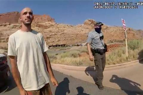 This Aug. 12, 2021 file photo from video provided by The Moab Police Department shows Brian Lau ...