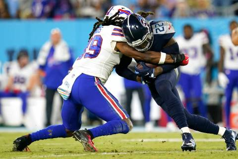 Tennessee Titans running back Derrick Henry (22) carries the ball during a Monday Night NFL foo ...