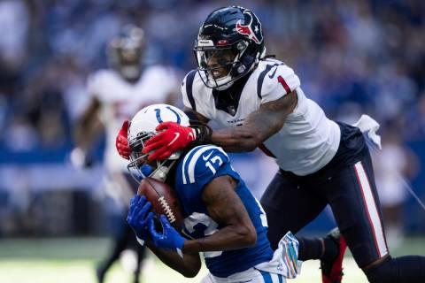 Indianapolis Colts wide receiver T.Y. Hilton (13) catches a deep pass against Houston Texans de ...