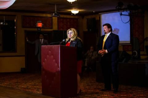 Las Vegas Councilwoman Michele Fiore announces her gubernatorial campaign at the Italian Americ ...
