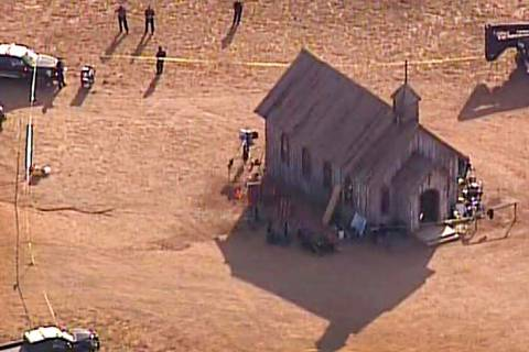 An aerial video image provided by KOAT 7 News, shows Santa Fe County Sheriff's Officers respond ...