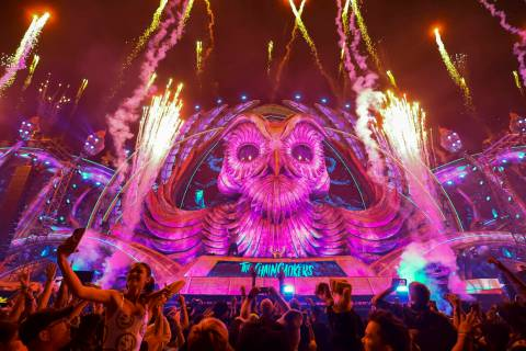 Fireworks go off as The Chainsmokers perform at the Kinetic Field stage during the first day of ...