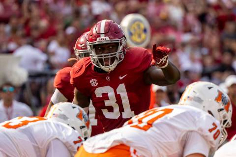 Alabama linebacker Will Anderson Jr. (31) lines up against Mercer during the first half of an N ...