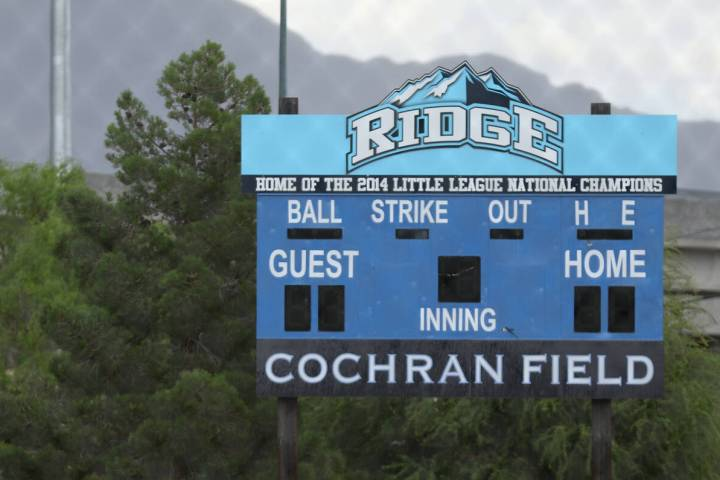 A scoreboard dedicated to the Mountain Ridge Little League team that went to the 2014 Little Le ...