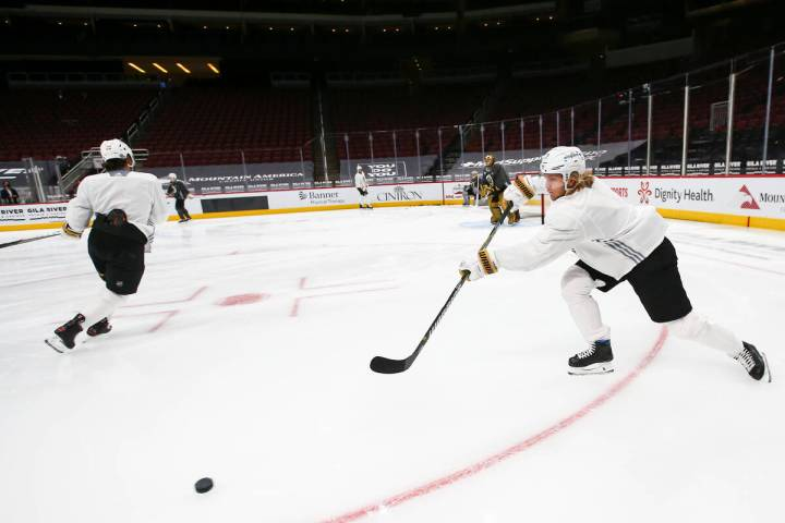 Golden Knights' William Karlsson passes the puck during an optional morning skate at Gila River ...